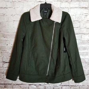 A.n.a. Zip-Up Jacket Dark Green Faux Fur Neckline